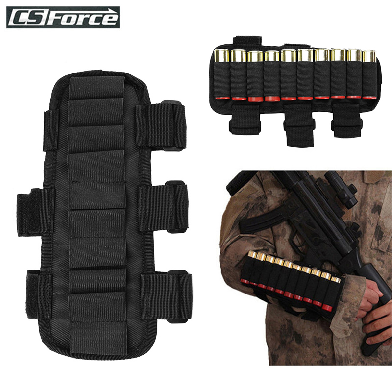 Tactical 10 Round 12 Gauge/20GA Shotgun Ammo Carrier Wrist Band Adjustable Mag Pouch Hunting Cartridge Stock Ammo Shell Holder