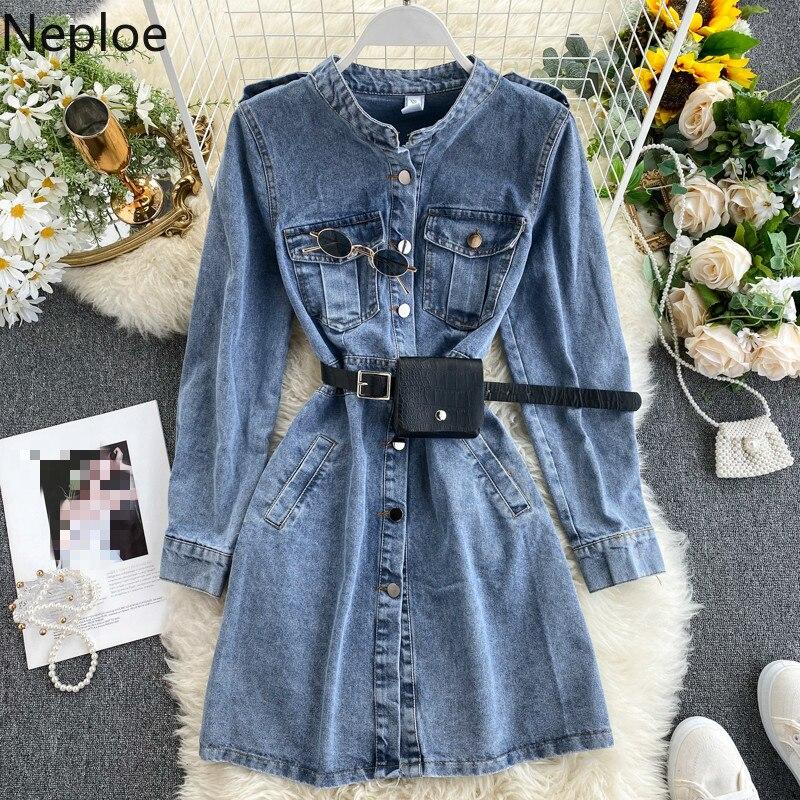 Neploe Women Chic Denim Dress Spring Vintage Stand Collar Long Sleeve Button Vestidos Elegant Slim Waist Ladies Dresses 49654