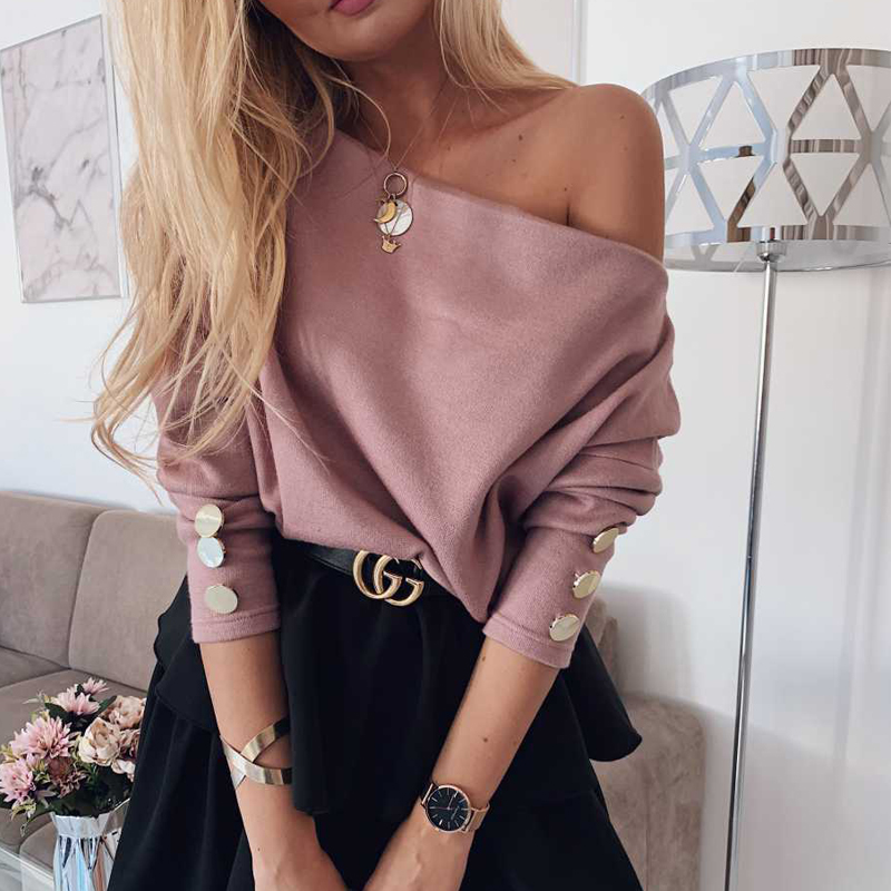 YELITE Sexy Off Shoulder Knitted Sweater Women Korean Pullovers Knitwear Loose Female Long Sleeves 2020 Clothes Pink Jumper Pull
