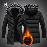 Зимние длинные мужские парки с хлопковой подкладкой, брендовая одежда, модные повседневные тонкие толстые теплые мужские пальто, пальто с к...