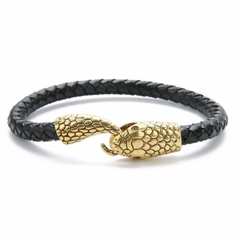 Bracelet cuir tressé  serpent  2