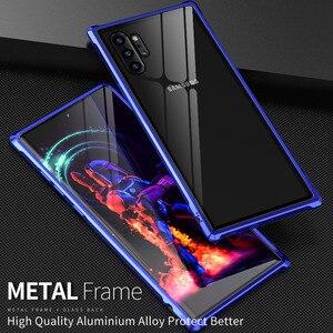Image 2 - Armure métal pare chocs étui pour Samsung Galaxy Note 10 10 Plus étui 9H verre trempé couverture arrière rigide pour Samsung Note 10 Plus Coque