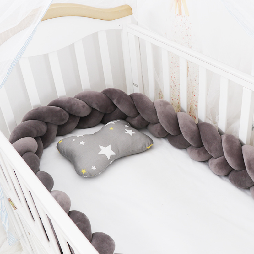 Clearance SaleNew 1M/2M/3M Baby Bed Bumper Baby Bumper Knot Braid Crib Protector Print Crib Cot Bumper for Infant