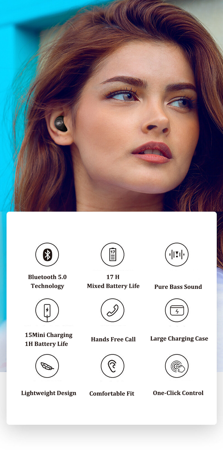 JBL C100TWS True wireless headphones 6