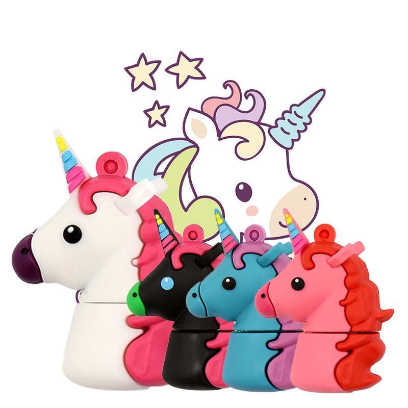 XIWANG Cartoon Rainbow Horse Real Capacity Usb Flash Drive Usb 2.0 4GB 8GB 16GB 32GB 64GB Cute Unicorn Personalized Wedding Gift