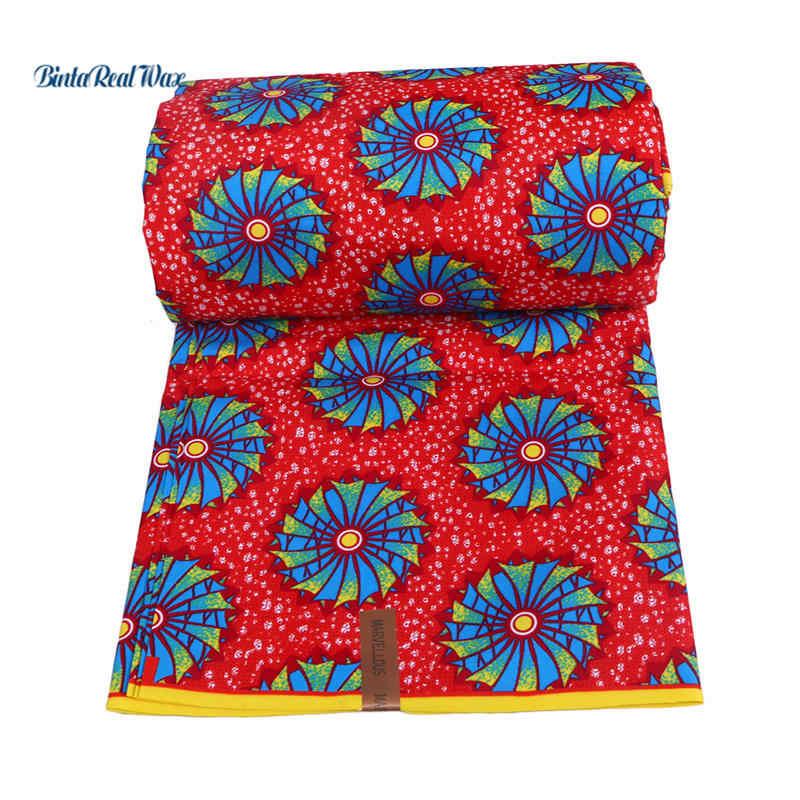 Afrika Polyester Wachs Druckt Ankara Stoff Rot und Kreis Muster Stoff BintaRealWax 6 yards Stoff für Party Kleid FP6009
