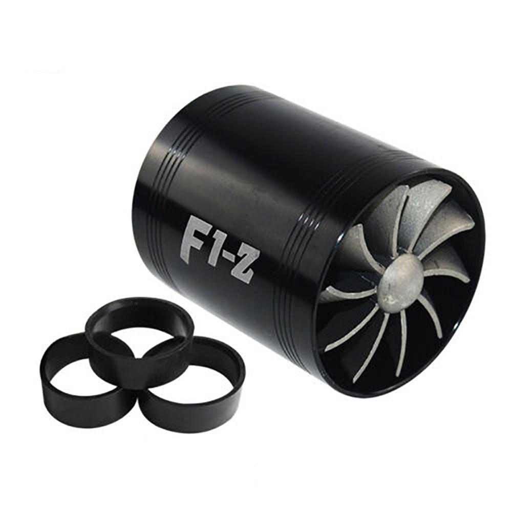 Evrensel araba türbin Supercharger ve 3 kauçuk kapakları 3000rpm F1-Z çift Turbo şarj hava filtresi emme Fan yakıt gaz tasarrufu kiti
