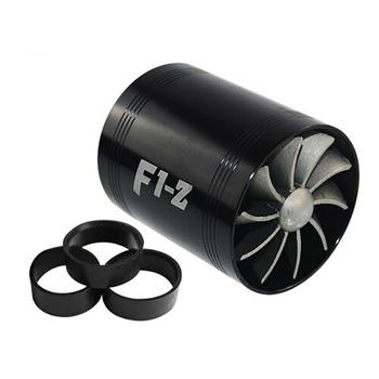 Universal Car Turbine Supercharger & 3 Rubber Covers 3000rpm F1-Z Double Turbo Charger Air Filter Intake Fan Fuel Gas Saver Kit