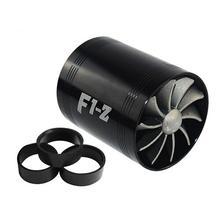Universal Car Turbine Supercharger i 3 gumowe obudowy 3000 obr min F1-Z podwójna ładowarka Turbo filtr wlotowy powietrza wentylator zestaw oszczędzania paliwa gazowego tanie tanio 6 4cm 233g Aluminum alloy and rubber Air Intake Gas Fuel 7 4cm China
