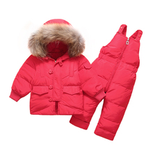 2019  Winter Children Down Jacket Sets Baby Warm Coat Winter Snowsuit Outerwear + Romper  Clothing Baby Snowsuit Ski Suit цена в Москве и Питере