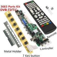 DS.D3663LUA.A81.2.PA V56 V59 placa controladora LCD Universal, compatible con tablero de TV de DVB T2 + interruptor de 7 teclas + IR 3663