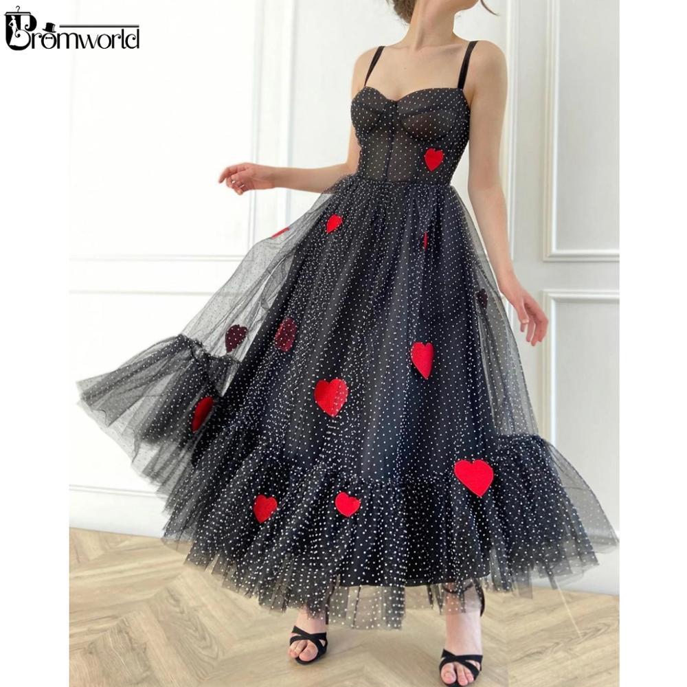 Платье в черный горошек, Тюлевое платье длиной ниже колена с вышитыми сердечками ручной работы, вечерние платья для выпускного вечера