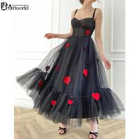 Black Polka Dots Tulle Tea Length Prom Dresses with Embroidered Handmade Hearts abiti da sera Prom Gown Homecoming Party Dress