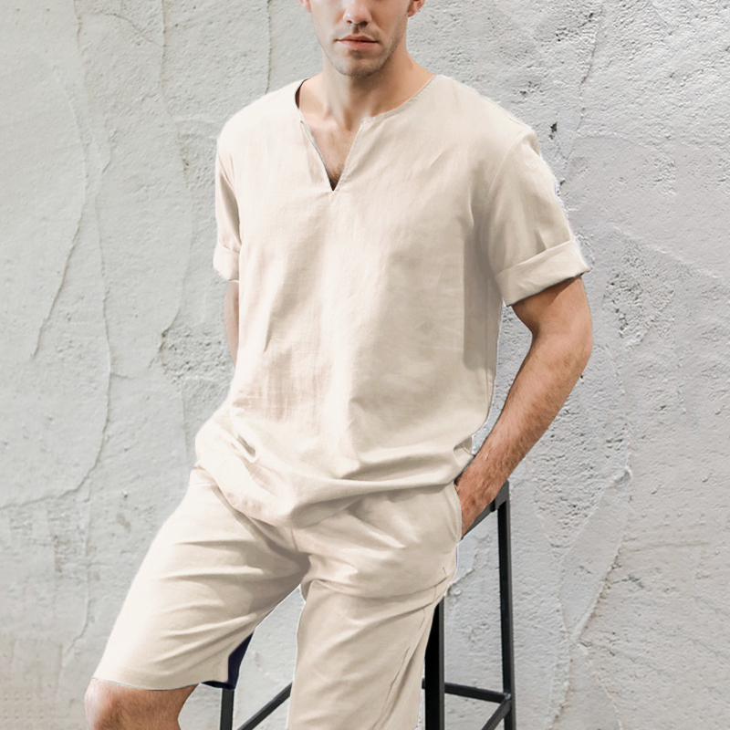 INCERUN Fashion Men Solid Color Short Sleeve Casual Pajamas Sets Comfort Cotton Homewear Baggy Daily Soft Mens Lounge Sleepwear