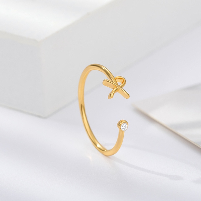 Cute Initial Letter Rings For Women Unisex Stainless Steel Gold A-Z 26 Letters Ring Creative Finger Rings Jewelry Wholesale 3