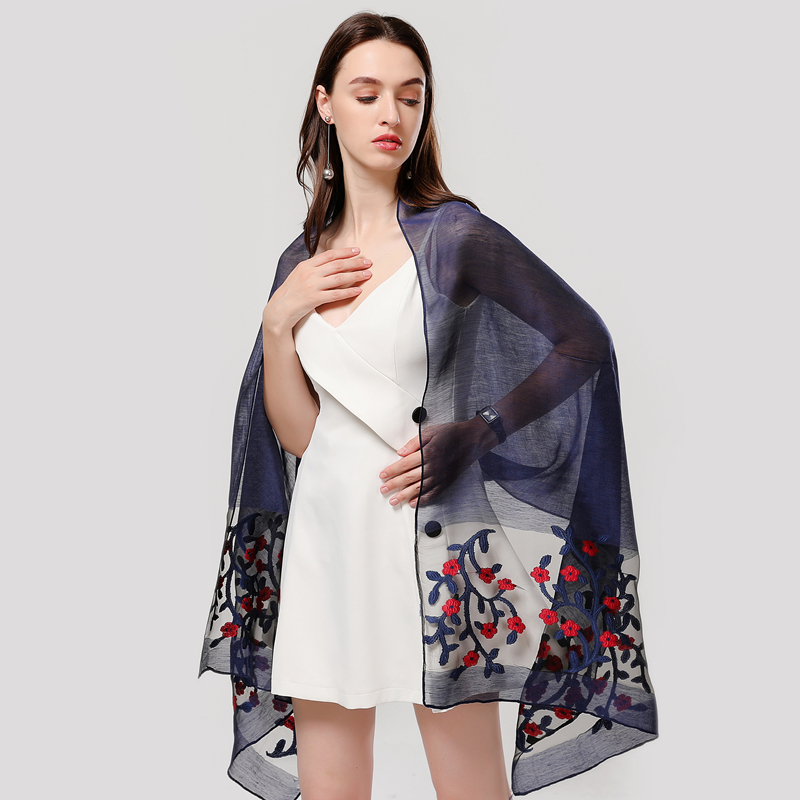 Designer 2020 Summer Women Scarf Fashion Floral Silk Scarves Lady Shawls And Wraps Pashmina Hollow  Foulard Long Beach Stoles