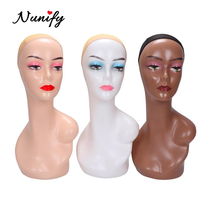 Nunify Beige/Drak Brown Wig Display Mannequin Head Model Head Hair Displayer Training Head For Wig Hat Scarf Mannequin Head