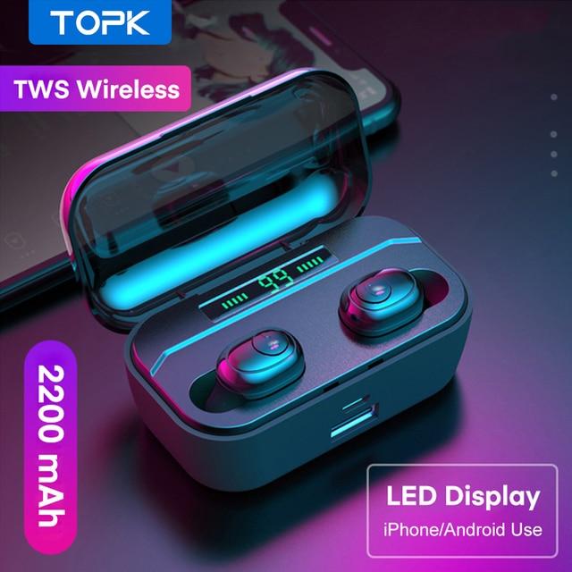TOPK TWS Bluetooth 5.0 słuchawki Stereo HD z redukcją szumów słuchawki gamingowe zestaw głośnomówiący z słuchawkami w uchu