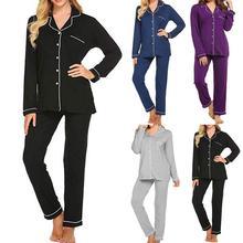 2019 Winter Women Long Sleeve Shirt + Pants Pajamas Set Sleepwear Nightwear Button Lapel Underwear Set  9.26