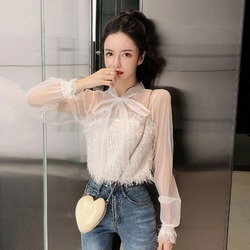 Immortal Elegant Fairy Chiffon Loose-Fit Slimming Bow Lace-up Charade Transparent Gauze Tops T-shirt Women's Fashion