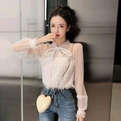 Onsterfelijke Elegante Fee Chiffon Loose-Fit Afslanken Bow Lace-Up Charade Transparante Gaas Tops T-shirt Damesmode