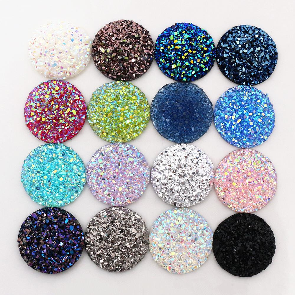 New Fashion 10pcs 20mm 25mm Mix Colors Natural Ore Style Flat Back Resin Cabochons For Bracelet Earrings Accessories