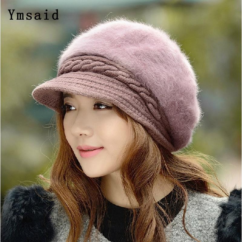 2019 New Fashion Winter Women cappello da berretto in pelliccia di coniglio elegante berretto piatto solido da donna addensare paraorecchie calde cappello a cuffia in lana lavorato a maglia 1