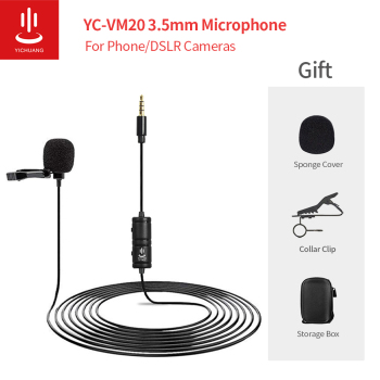 Lavalier Microphone YC-VM20 Clip-on Lavalier Mini Audio 3.5mm Collar Condenser Lapel Mic for recording Audio Video Phone Cameras professional lavalier lapel unidirectional condenser microphone for sennheiser wireless bodypack transmitter 3 5 mm lockable