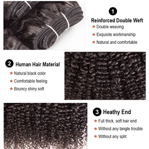 Image 2 - BOBBI COLLECTION Afro Kinky Curly 2/3 Bundles With 4*4 Lace Closure Indian Remy Human Hair Weave Bundles Extensions