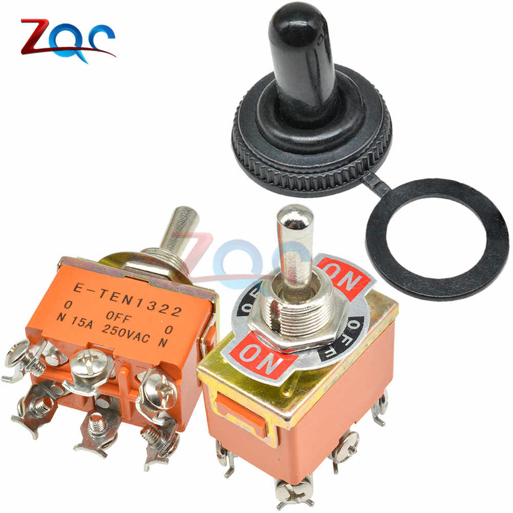 Mini Auto Saklar Toggle AC 250V 15A 6 Pin DPDT On-Off-On 3 Posisi E-TEN1322 Tembaga hubungi Tahan Air Cap Orange