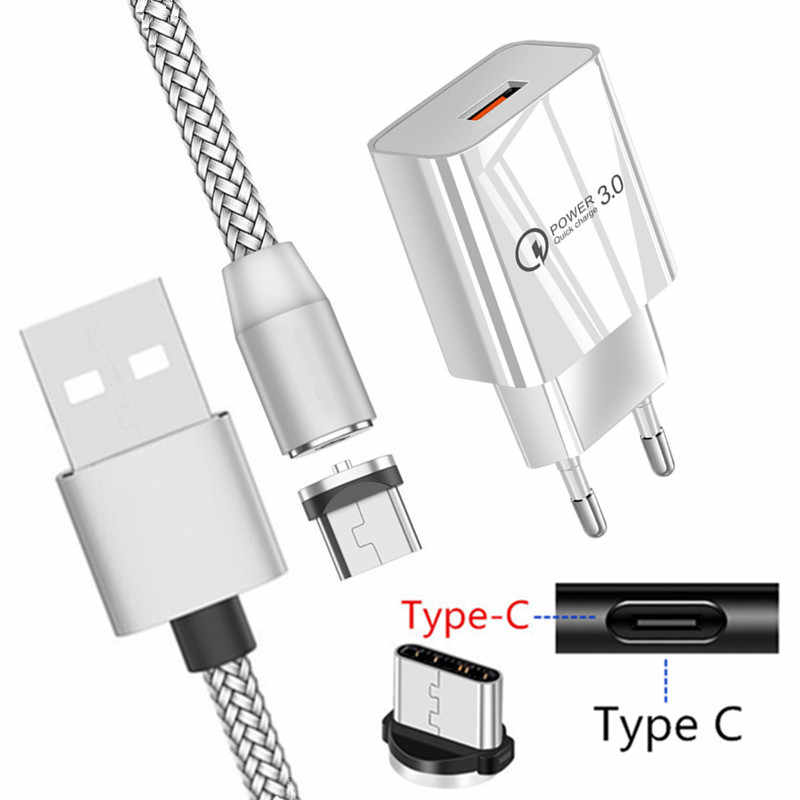 Charge Cepat QC 3.0 Usb Charger Kehormatan 30 20 20 S 10 Kehormatan 9X Magnetik Tipe C Kabel untuk Samsung galaxy S20 S10 A5 2017 A51 A50 A40