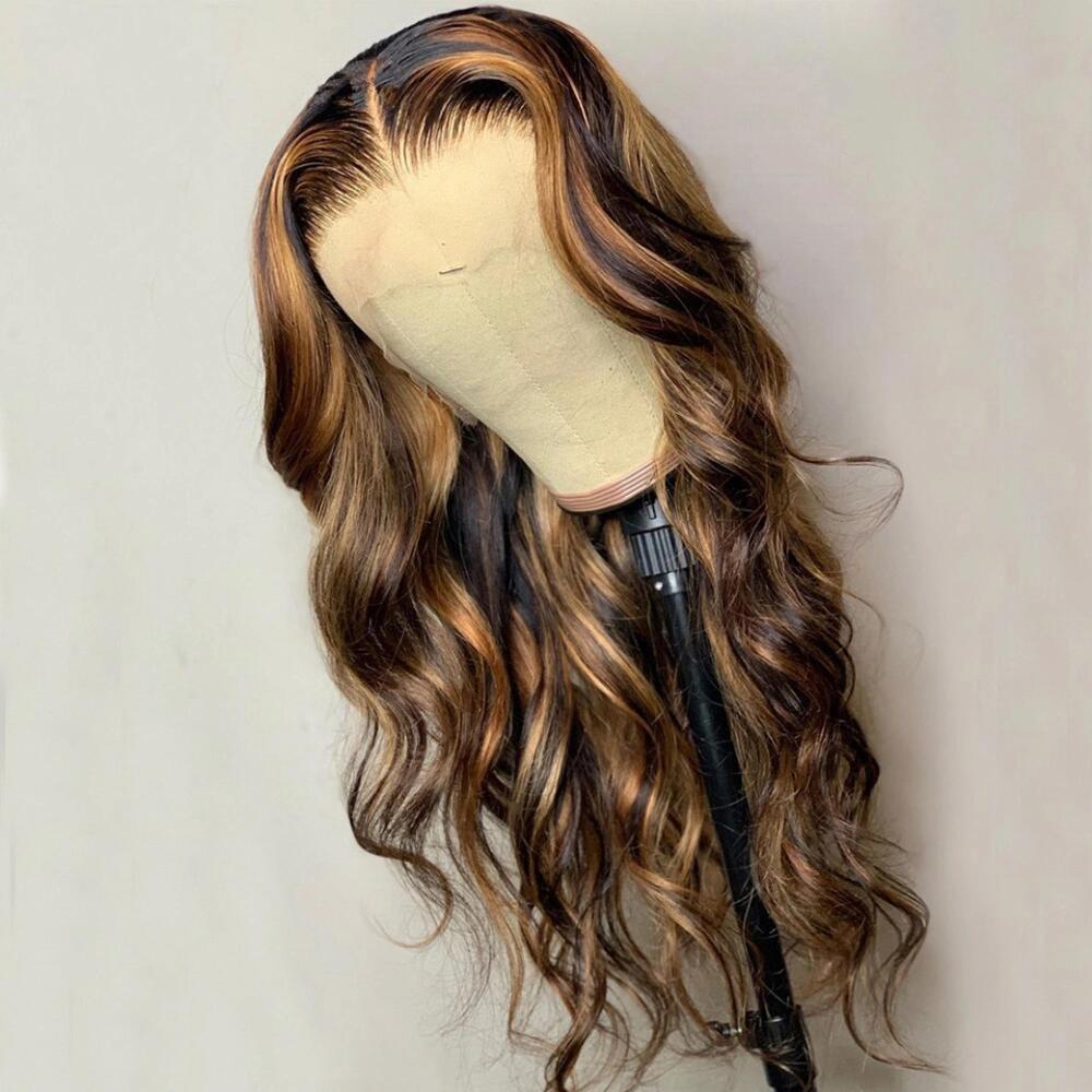 Abijale объемная волна парик 13x1 часть синтетические волосы парик шнурка эффектом деграде (переход от темного к выделить Синтетические волосы н...