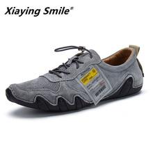 2020 Men's Fashion Pig Suede Work Shoes Lace Up Casual Shoes Second Leather Male Student Skate Shoe Low Shoes Zapatos De Hombre