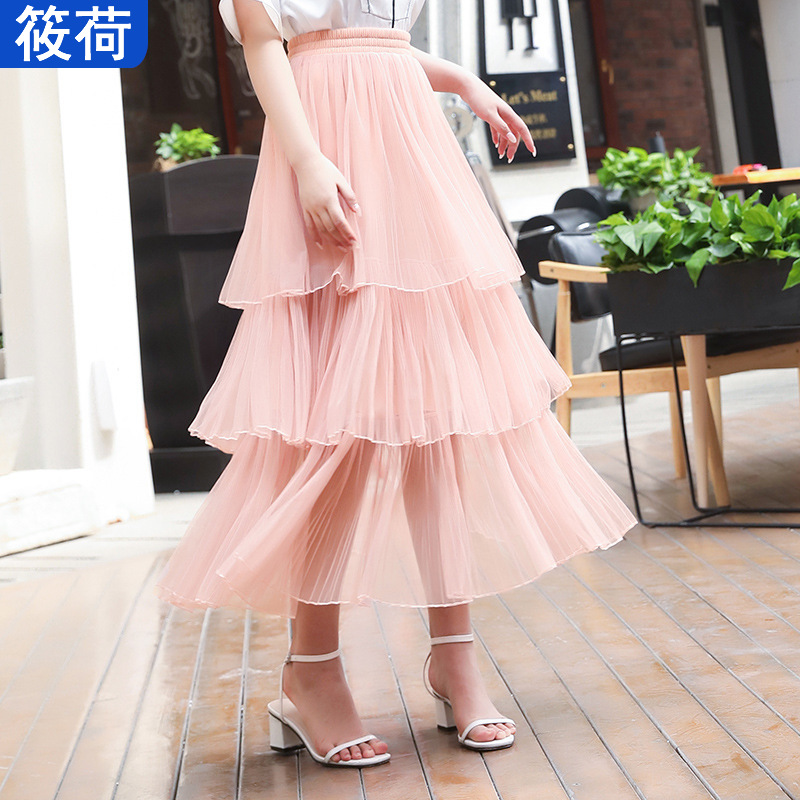 Very Fairy Of France Non-mainstream Mesh Dress Skirt WOMEN'S Dress 2019 New Style High-waisted Cake Dress Pleated Skirt Spring S