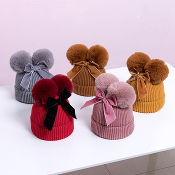 Cute Bow Baby Hat Winter Thicken Warm Knitted Caps With Double Pompom Infant Boys Girl Beanie Cap High Quality Girls Bonnet image