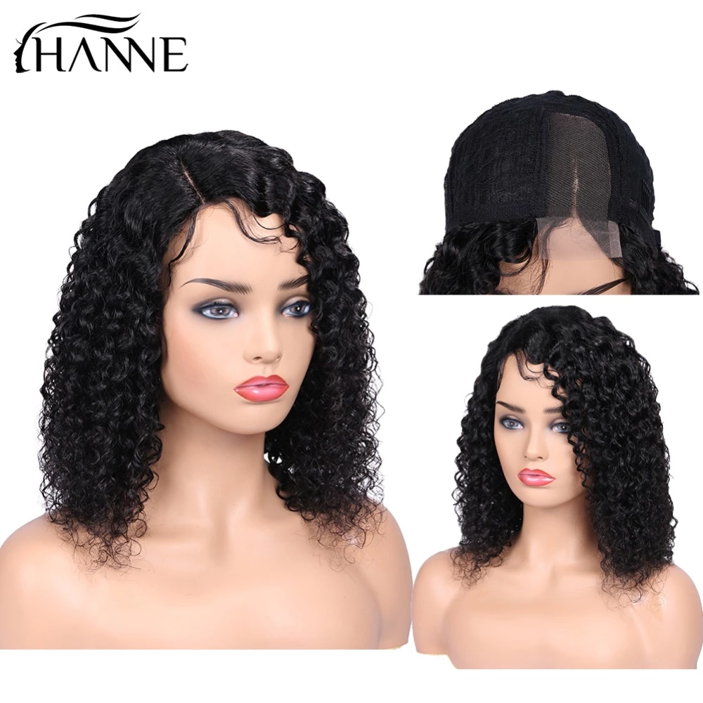 HANNE Hair Brazilian Short Curly Lace Front Human Hair Wigs Right/Left Part Wig With Baby Hair For Black Women 150% Density