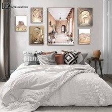 Cartel de paisaje de Puerta Vieja de Marruecos, pintura de lona nórdica con impresión de viaje del oeste del sur de Boho, imagen de pared para la sala de estar