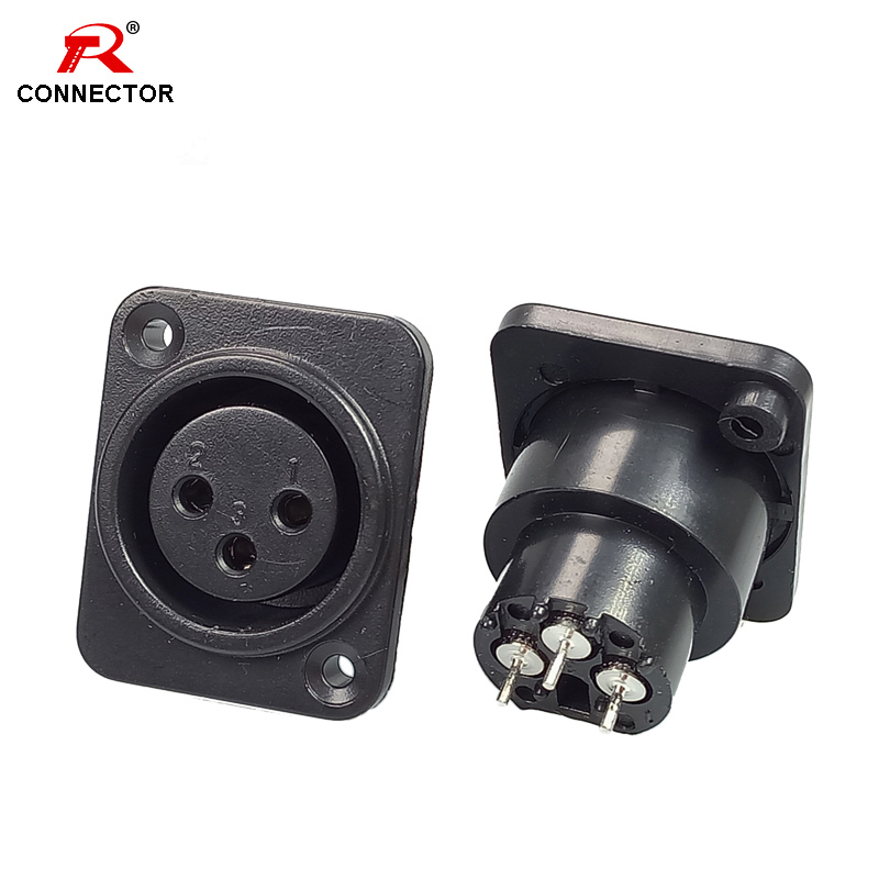 4pcs XLR Connector Female Socket 3Pin Panel Mounted Chassis Square Shape MIC Microphone Audio Connecting