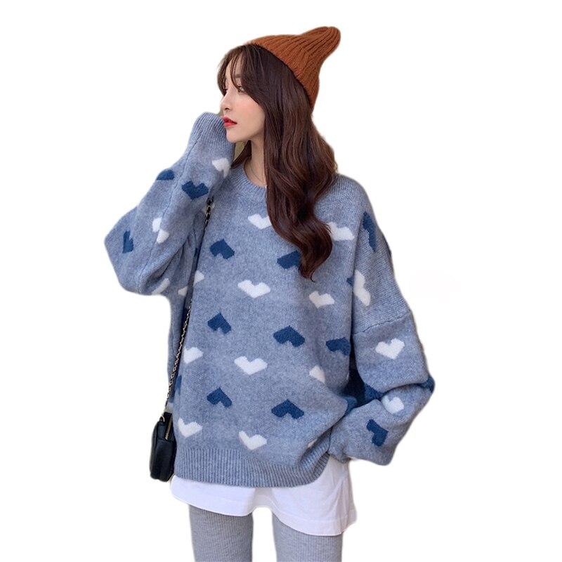 Женский милый вязаный свитер с милым сердечком, розовые милые свитера с длинным рукавом, Harajuku Kawaii свитер с круглым вырезом, вязаный джемпер,
