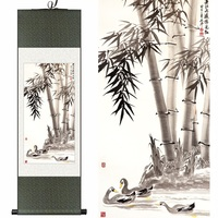 Chinese silk watercolor flower and birds ink peace bamboo feng shui wall picture damask framed decorative canvas scroll painting