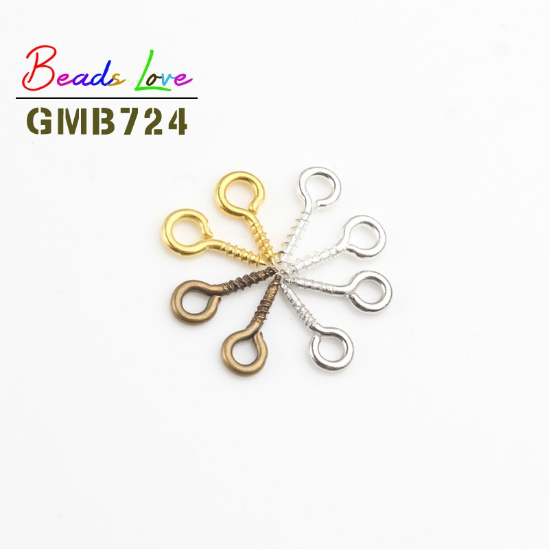200pcs/lot 4*9mm Screw Eye Pins Jewelry Findings Eyepins Hooks Fit Drilled Beads For Jewelry Making Diy Accessories Supplies