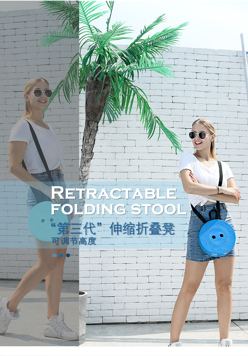 Retractable Stool Folding Chiar Outdoor Portable Stool Camping Stool Convenient Fishing Chair Foldable