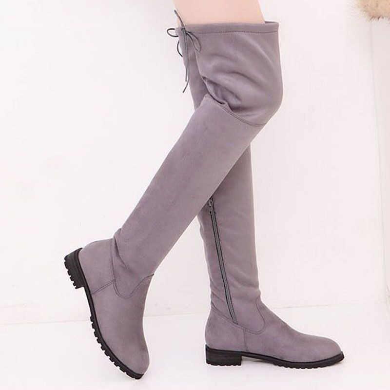 2019 moda kadın kış ayakkabı yeni diz çizmeler üzerinde kadın yüksek çizmeler sıcak kürk kar botları daireler ayakkabı kadın çizmeler Bota kadınlar