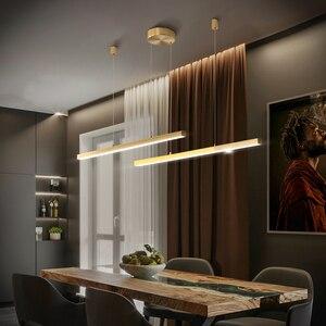 Image 3 - 現代ミニマリストオフィスロングラインシャンデリア照明ショップ展示ホールストリップダイニングリビングルームledシャンデリア