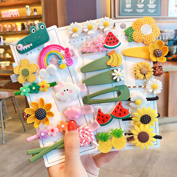 1 Set Children Cute Cartoon Flower Fruit Rubber Bands Hairpins Girls Lovely Gift Hair Clips Kids Hair Bands Hair Accessories image