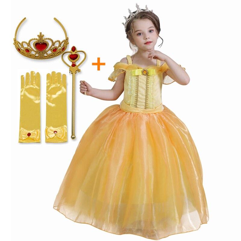 Menina cosplay princesa bella vestido beleza e a besta crianças fantasiar-se festa de aniversário halloween drama fotografia traje