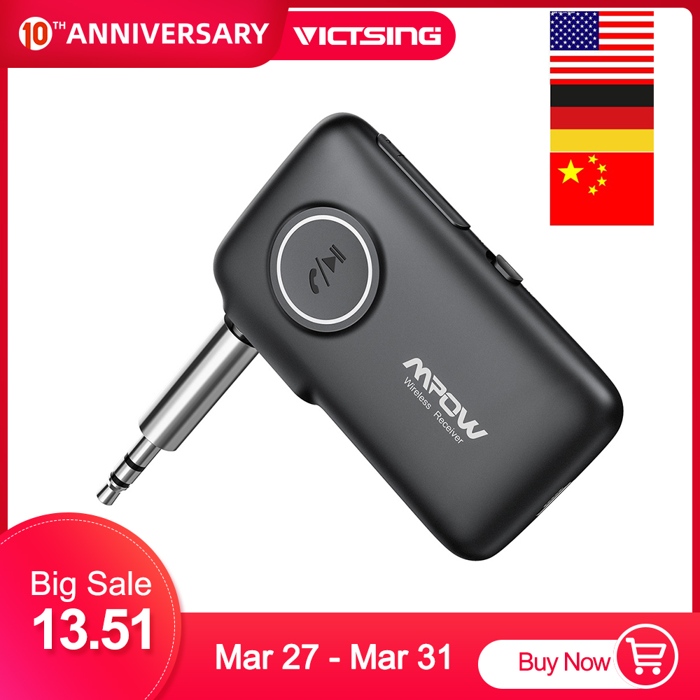 VicTsing <font><b>Bluetooth</b></font> Receiver <font><b>5.0</b></font> <font><b>Car</b></font> <font><b>Adapter</b></font> Kit CSR <font><b>Bluetooth</b></font> Receiver Transmitter 16 Hours Aux <font><b>Adapter</b></font> Audio Hands-Free Calls image
