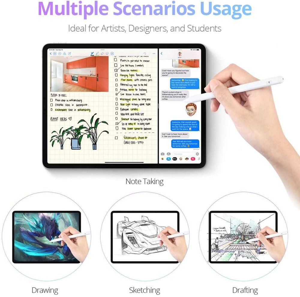 For Apple iPad Pencil for Stylus Pen iPad Pro 11 12.9 2020 2018 2019 6th 10.2 7th 8th Generation mini 5 Air 3 4 Palm Rejection