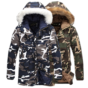 Camouflage Parkas Mens Military Medium long Winter Coat Thickening warm Cotton-padded Jacket Male Fur collar Hooded wadded new winter men s cotton linen padded thickened jacket china style male jeans coat mens fashion casual warm denim parkas jacket