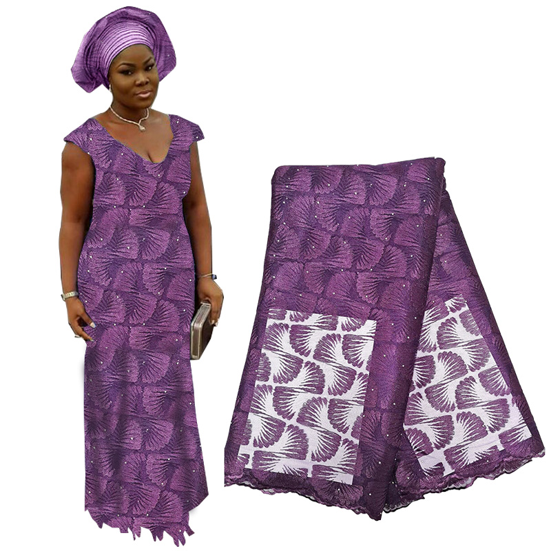 High Quality African Lace Fabric With Beads French Embroidery Tulle Voile Lace Fabric Nigerian Net Lace Fabric For Wedding